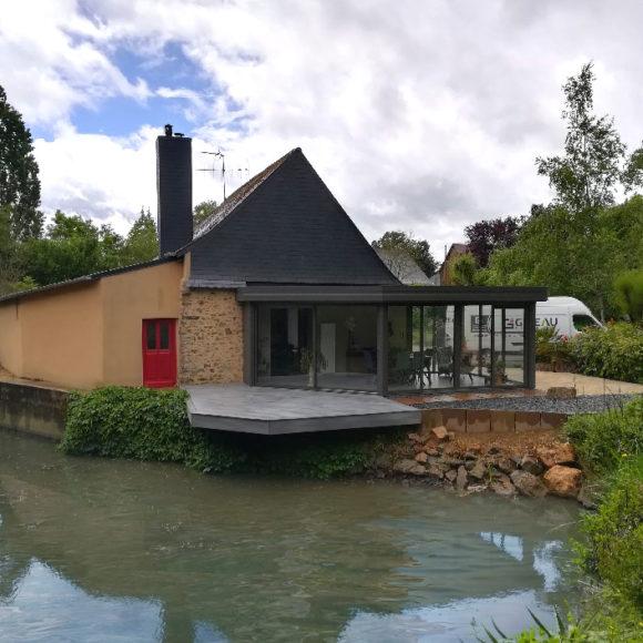 véranda toit plat Giteau menuiserie Maine-et-Loire 49 Angers