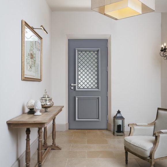 Porte d'entrée alu, modèle tradition en gris